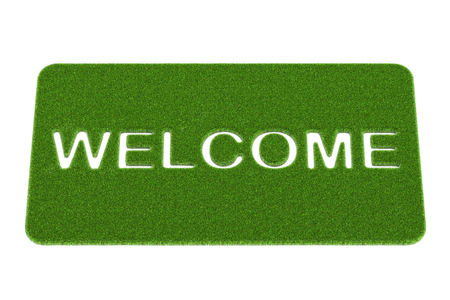 Welcome, grass doormat. 3D rendering