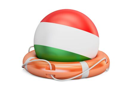 Lifebelt with Hungary flag, safe, help and protect concept. 3D rendering