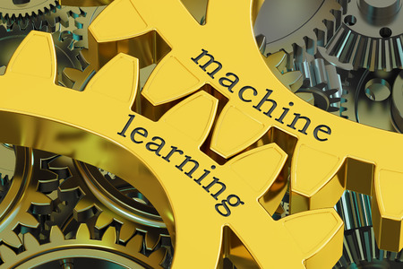 machine learning concept on the gearwheels, 3D rendering