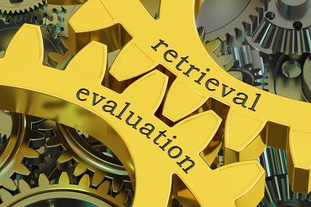 measures: retrieval evaluation concept on the gearwheels, 3D rendering