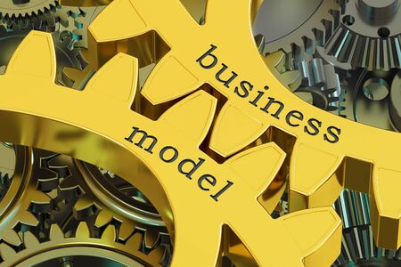 reciprocity: Business Model concept on the gearwheels, 3D rendering