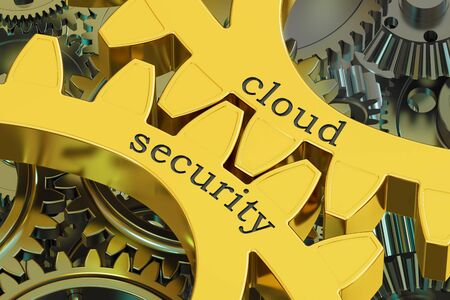 Cloud Security concept on the gearwheels, 3D rendering