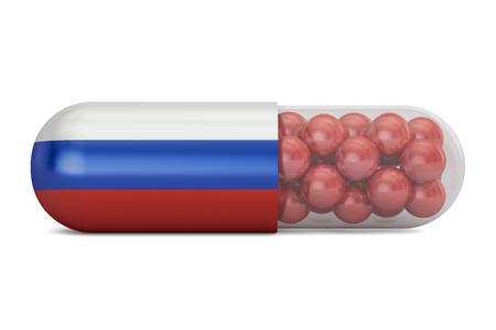 Pill capsule with Russia flag. Russian health care concept, 3D rendering Stock Photo