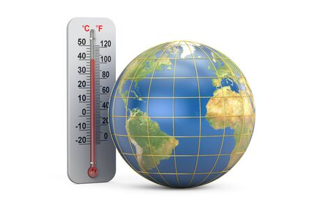 Thermometer with Earth globe, 3D rendering isolated on white background Stock Photo