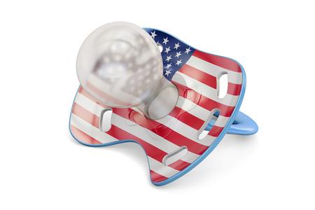 アメリカ出産と出生率米国のコンセプトは、3 D の分離の白い背景を描画