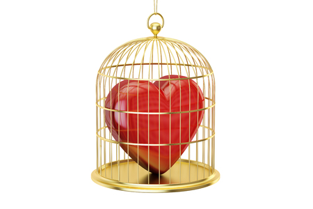 Birdcage with red heart, 3D rendering isolated on white background Stock Photo