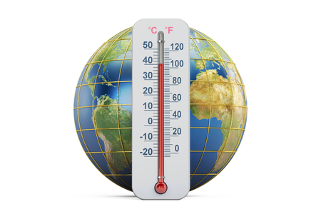 Global warming concept. Thermometer with Earth globe,  3D rendering isolated on white background Stock Photo