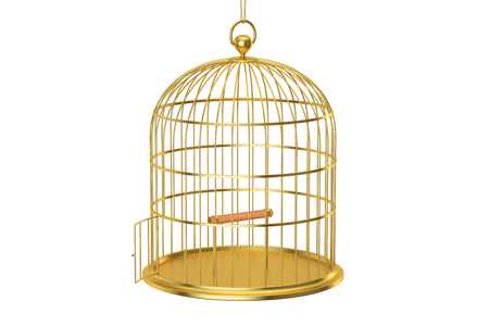 aviary: Golden bird cage with open door, 3D rendering isolated on white background