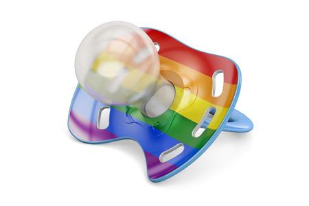 LGBT 채택 개념, 무지개 게이 깃발이있는 아기 젖꼭지. 3D 렌더링
