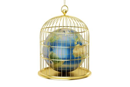 enclose: Birdcage with Planet Earth trapped inside isolated on white background Stock Photo
