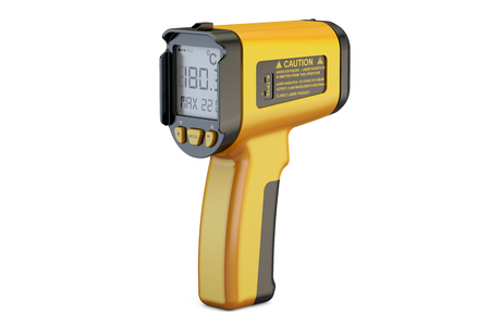 handheld device: Infrared Thermometer, 3D rendering isolated on white background Stock Photo