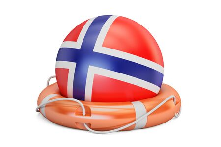 Lifebelt with Norway flag safe, help and protect concept. 3D rendering