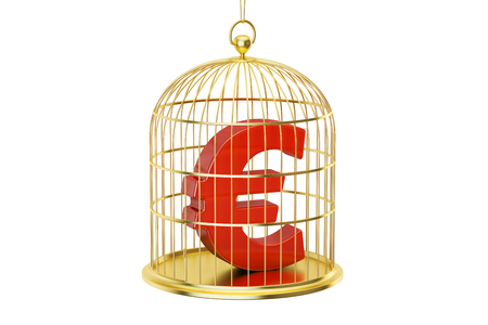 gaol: Birdcage with Euro currency symbol inside, 3D rendering isolated on white background