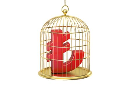 Birdcage with lira currency symbol inside, 3D rendering isolated on white background