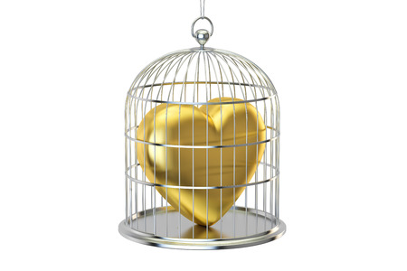 prisoner of love: Birdcage with golden heart, 3D rendering isolated on white background