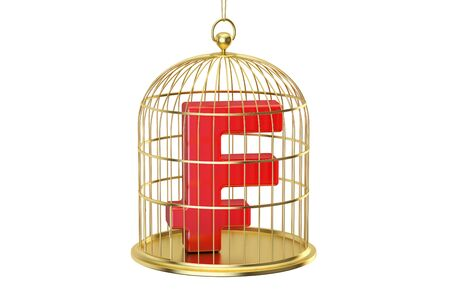 trapped: Birdcage with frank currency symbol inside, 3D rendering isolated on white background Stock Photo