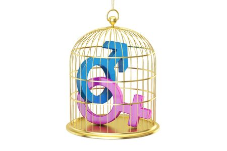 Birdcage with male and female gender symbols, 3D rendering isolated on white background
