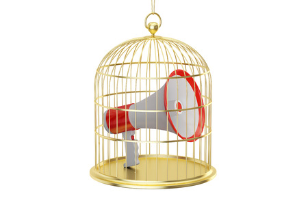 trapped: Birdcage with megaphone inside, 3D rendering isolated on white background