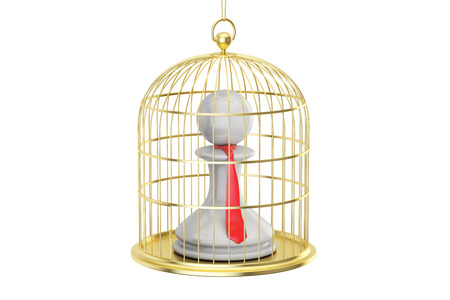 Birdcage with office clerk inside, 3D rendering isolated on white background