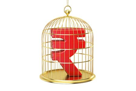 trapped: Birdcage with rupee currency symbol inside, 3D rendering isolated on white background