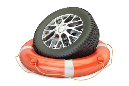car wheel with lifebelt, service and repair concept. 3D rendering isolated on white background