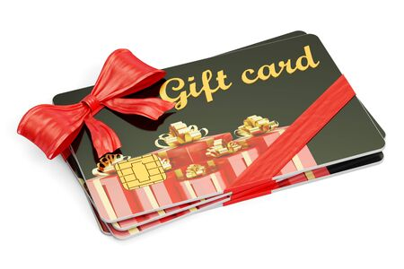 Gift cards, 3D rendering isolated on white background