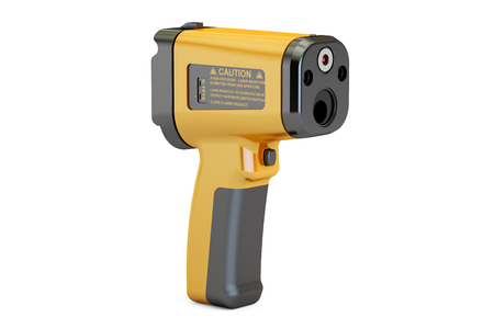 handheld device: Infrared Thermometer closeup, 3D rendering isolated on white background Stock Photo