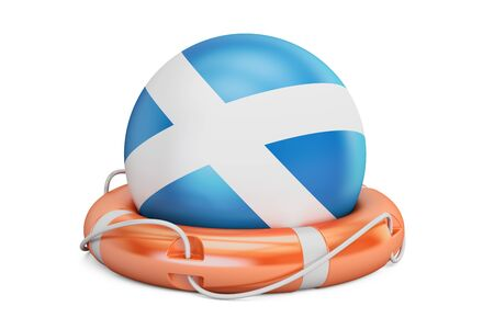 Lifebelt with Scotland flag, safe, help and protect concept. 3D rendering