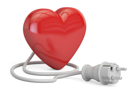 pacemaker: Red heart with electrical plug, 3D rendering isolated on white background Stock Photo