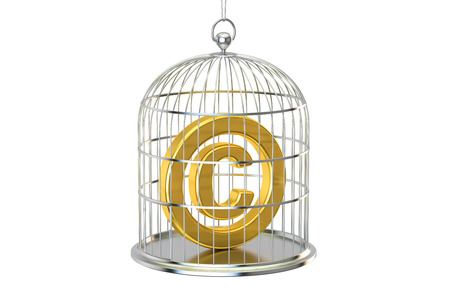 enclose: Birdcage with copyright symbol inside, 3D rendering