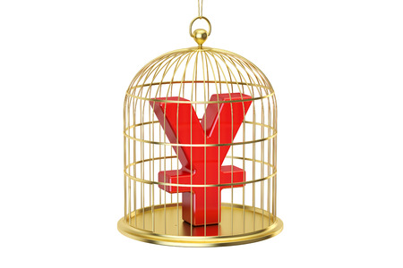 enclose: Birdcage with yen or yuan currency symbol inside, 3D rendering isolated on white background