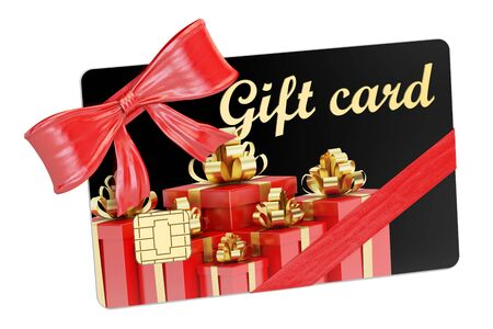 Gift card closeup, 3D rendering isolated on white background