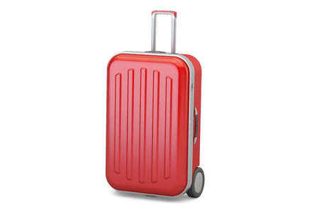 Red suitcase, 3D rendering isolated on white background Stock Photo