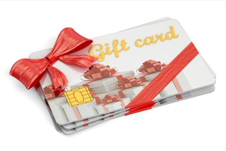 Set of gift cards, 3D rendering isolated on white background