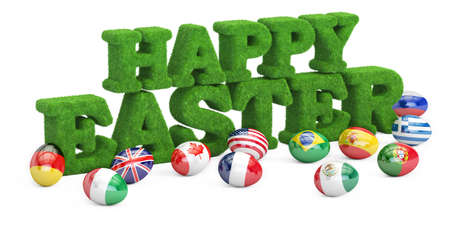 Happy Easter concept, grassy inscription with eggs. 3D rendering isolated on white background