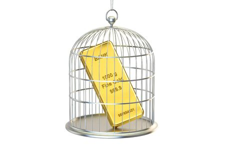 Birdcage with golden bar inside, 3D rendering isolated on white background Stock Photo