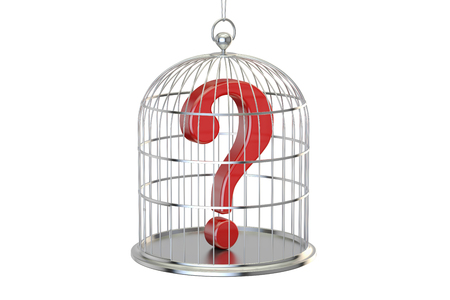 Birdcage with question mark inside, 3D rendering isolated on white background Stock Photo