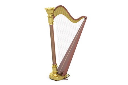 Harp, 3D rendering isolated on white background