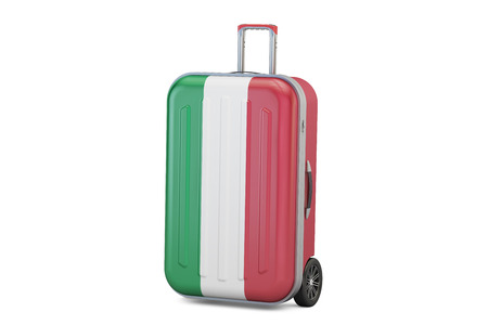 overseas: Italy travel concept, suitcase with Italian flag. 3D rendering