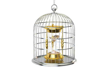 gaol: Birdcage with hourglass inside, 3D rendering isolated on white background