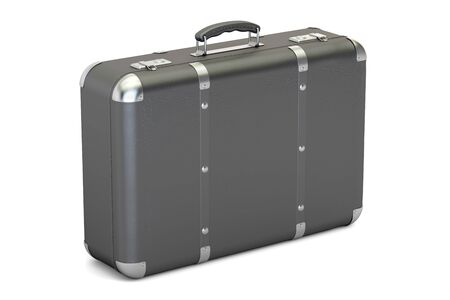 leather suitcase, 3D rendering isolated on white background