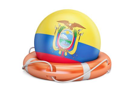 crisis economica: Cinturón de seguridad con bandera de Ecuador, seguro, ayuda y proteger concepto. Representación 3D