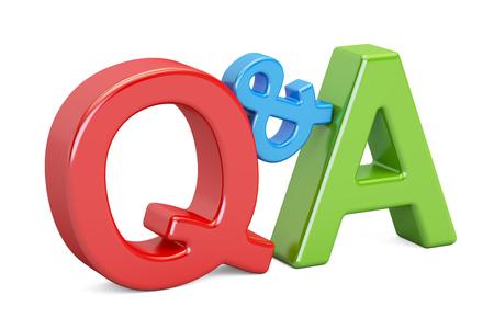 Q&A カラフルな碑文、3 D の分離の白い背景を描画 写真素材