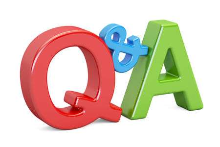 Q&A colorful inscription, 3D rendering isolated on white background Stock Photo