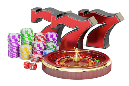 cheques: Casino, gambling and jackpot concept. 3D rendering isolated on white background Stock Photo