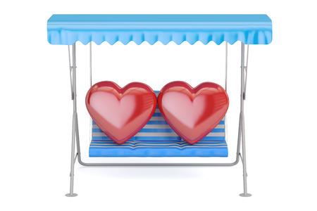 Columpio de jardín con dos corazones, representación 3D Foto de archivo - 75989074