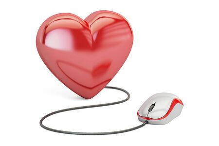 Heart with computer mouse, online dating concept. 3D rendering