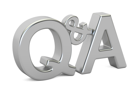 Q&A silver inscription, 3D rendering isolated on white background 版權商用圖片