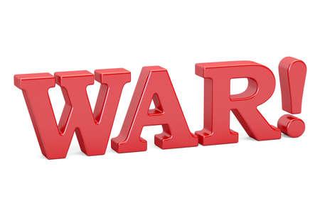 terrorist attack: War! Red inscription, 3D rendering