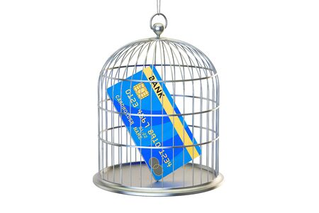 Birdcage with credit card locked inside, 3D rendering isolated on white background